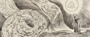 William Blake, The Circle of the Lustful: Francesca da Rimini (The Whirlwind of Lovers), 1826–7