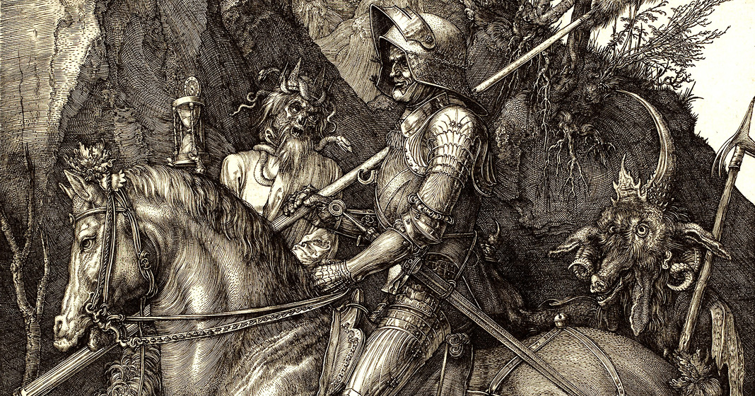 Albrecht Dürer, Il cavaliere, la morte e il diavolo, 1513, Staatliche Kunsthalle, Karlsruhe