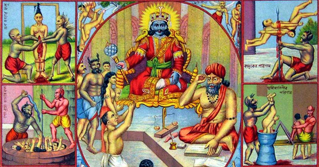 Hell tortures for sinners, litografia a colori tratta da un album di stampe popolari montato su pagine di stoffa