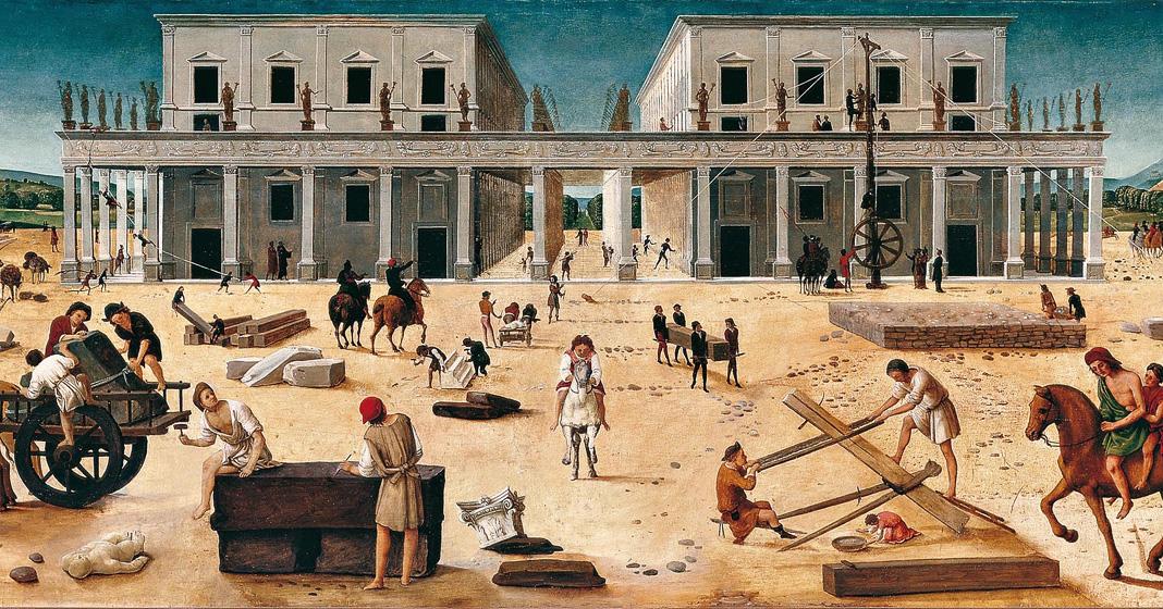 Piero di Cosimo, La costruzione di un edificio, 1490 circa - Tavola Sarasota (FL), The John and Mable Ringling Museum of Art