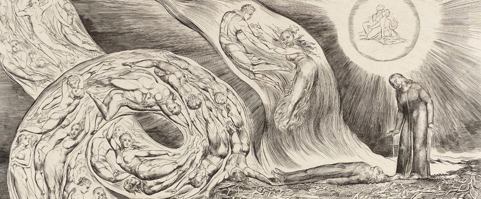 William Blake, The Circle of the Lustful: Francesca da Rimini (The Whirlwind of Lovers), 1826–7
