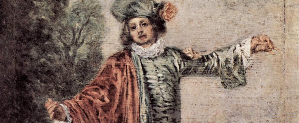Jean-Antoine Watteau, L'indifférent, circa 1717 (particolare)